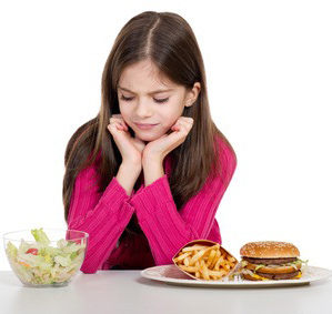 little girl dont like healthy green salad
