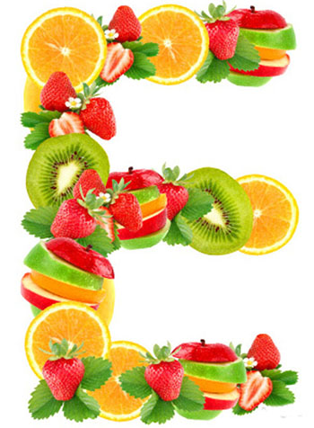 Letter E with fruit